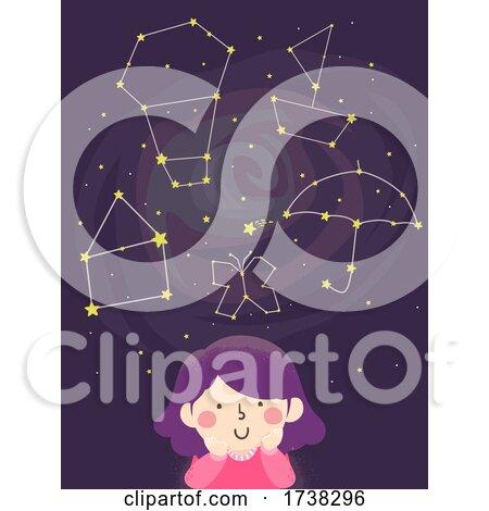 Kid Girl Imagine Constellation Shapes Illustration by BNP Design Studio