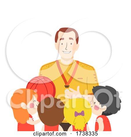 Kids Girls Boys Basketball Coach Talk Illustration by BNP Design Studio