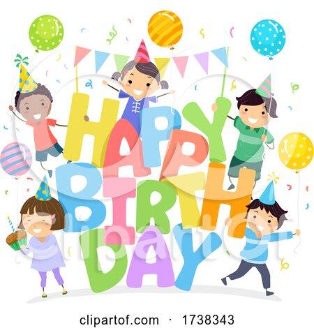 Stickman Kids Happy Birthday Illustration by BNP Design Studio