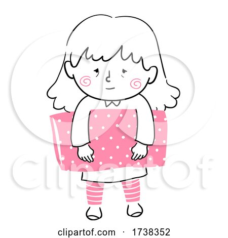Doodle Kid Girl Sleep Carry Pillow Illustration by BNP Design Studio