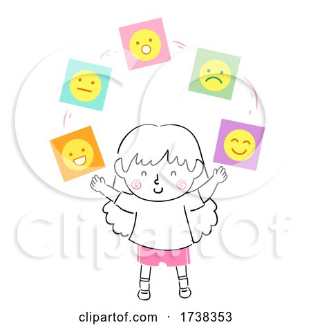 Kid Girl Balanced Emotional Quotient Illustration by BNP Design Studio