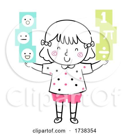 Kid Girl Doodle Balanced Illustration by BNP Design Studio