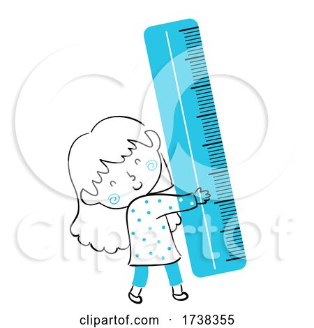 Kid Girl Doodle Blue Ruler Illustration by BNP Design Studio