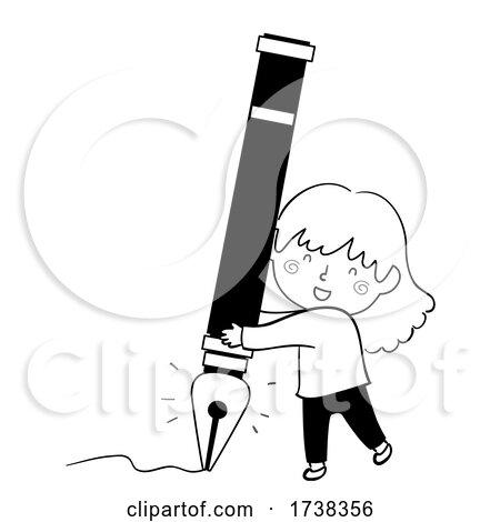 Kid Girl Doodle Fountain Pen Illustration by BNP Design Studio