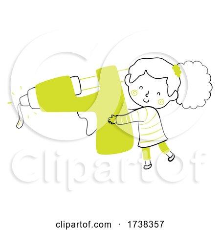 Kid Girl Doodle Glue Gun Illustration by BNP Design Studio
