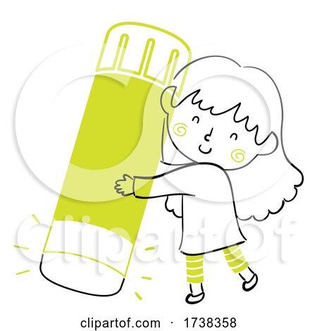 Kid Girl Doodle Glue Stick Illustration by BNP Design Studio