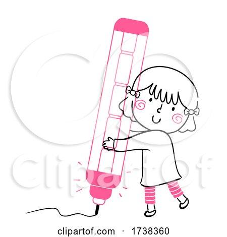 Kid Girl Doodle Mechanical Pencil Illustration by BNP Design Studio
