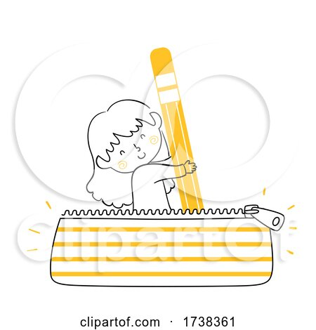 Kid Girl Doodle Pencil Case Pouch Bag Illustration by BNP Design Studio