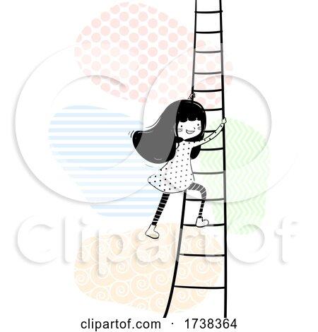Girl Doodle Climb Ladder Illustration by BNP Design Studio