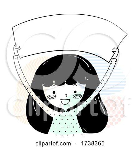 Girl Doodle Hold Blank Banner Illustration by BNP Design Studio