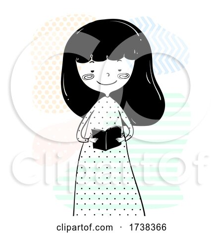 Girl Doodle Hold Read Small Book Illustration by BNP Design Studio