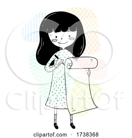 Girl Doodle Long Checklist Illustration by BNP Design Studio