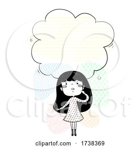 Girl Doodle Look up Cloud Think Illustration by BNP Design Studio