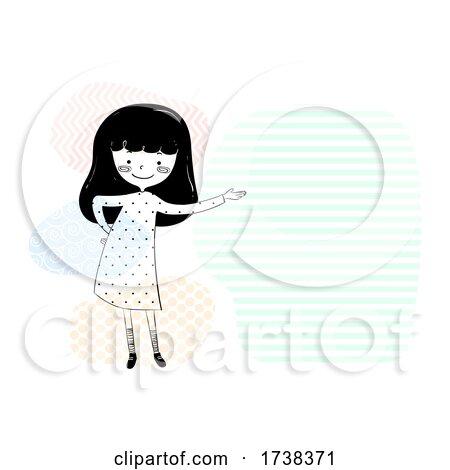 Girl Doodle Show Space Left Side Illustration by BNP Design Studio