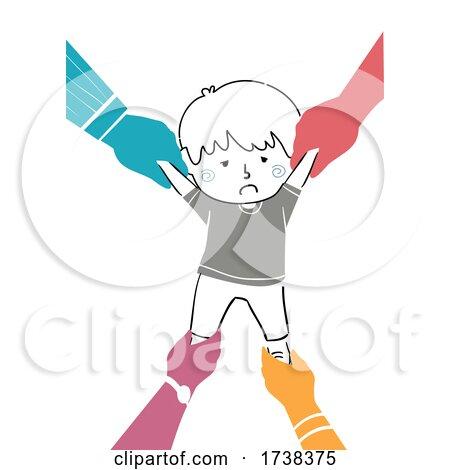 Doodle Kid Boy Pulled Various Hands Illustration by BNP Design Studio