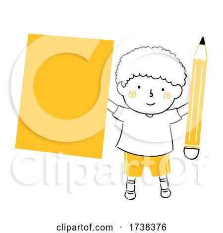 Kid Boy Doodle Blank Paper Pencil Illustration by BNP Design Studio