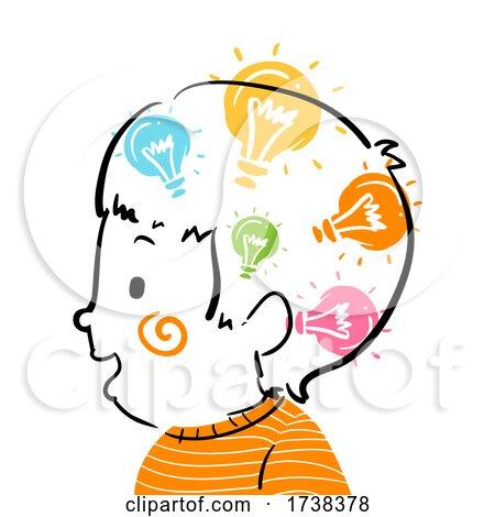 Kid Boy Doodle Ideas in Head Illustration by BNP Design Studio