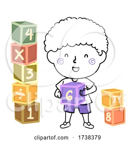 Kid Boy Doodle Math Blocks Illustration by BNP Design Studio