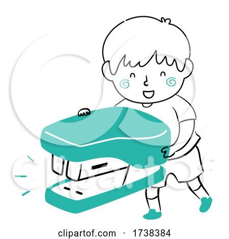 Kid Boy Doodle Stapler Illustration by BNP Design Studio
