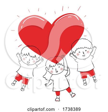 Kids Doodle Big Red Bright Heart Illustration by BNP Design Studio