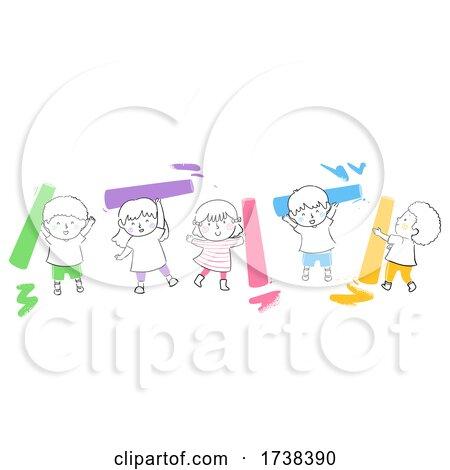Kids Doodle Colorful Chalks Illustration by BNP Design Studio