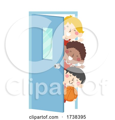 Kids Boys Basketball Team Peek Door Illustration by BNP Design Studio