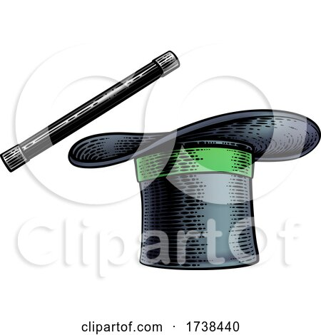 Magic Wand and Magician Top Hat Woodcut Drawing by AtStockIllustration