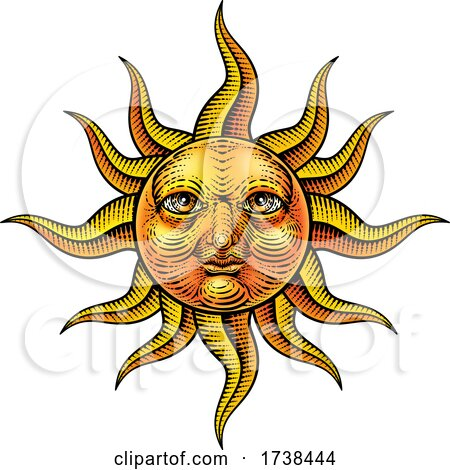 Sun Face Woodcut Drawing Retro Vintage Engraving by AtStockIllustration