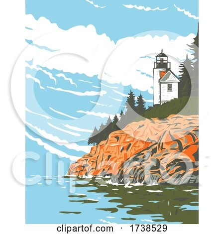 Mount Desert Island in Hancock County off the Coast of Maine Part of Acadia National Park WPA Poster Art by patrimonio