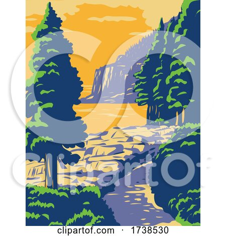 Ocean Path with the Otter Cliff in Acadia National Park on Mount Desert Island Maine United States WPA Poster Art by patrimonio