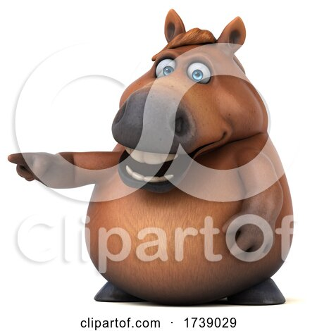3d Chubby Brown Horse, on a White Background by Julos