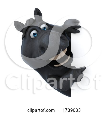 3d Chubby Black Horse, on a White Background by Julos