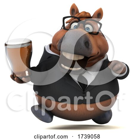 3d Chubby Brown Business Horse, on a White Background by Julos