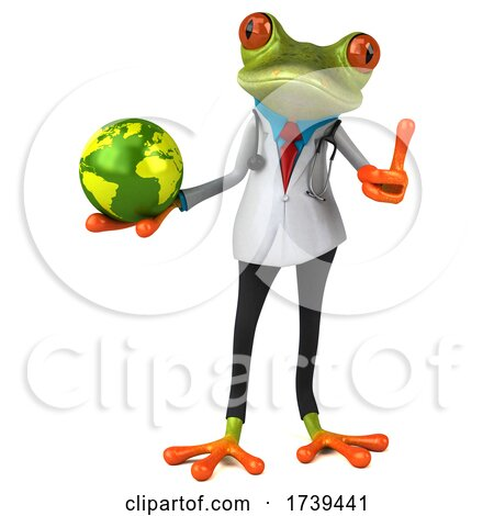 3d Green Doctor Frog, on a White Background Posters, Art Prints
