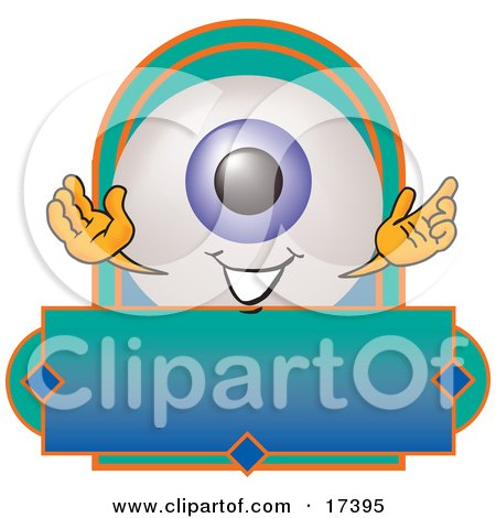 Clipart Picture of an Eyeball Mascot Cartoon Character on a Blank Business Label by Toons4Biz