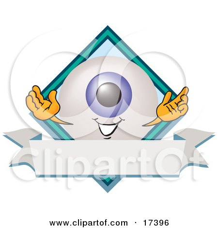 Clipart Picture of an Eyeball Mascot Cartoon Character on a Business Logo Label by Toons4Biz