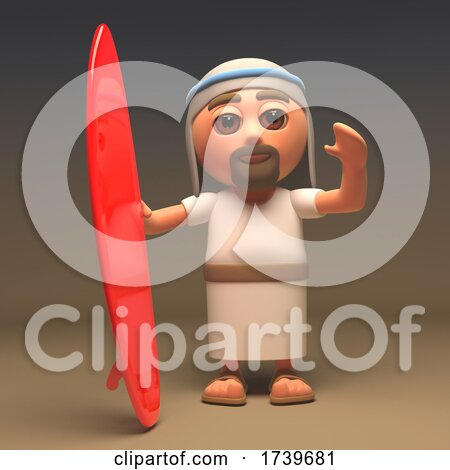 3d Jesus Christ the Holy Saviour with Red Surfboard by Steve Young