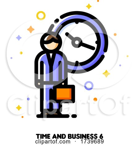 Icon of Businessman with Briefcase on a Background of Clock for 24 Hours 7 Days Week Customer Service and Assistance Concept by elena