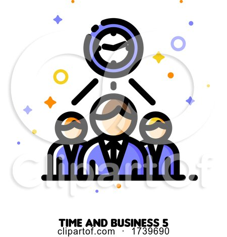 Icon of Clock and Three Business Persons for Teams Work Time Efficiency Concept by elena