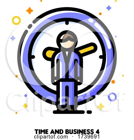 Icon of Businessman on a Background of Clock for Time Is Money Concept by elena