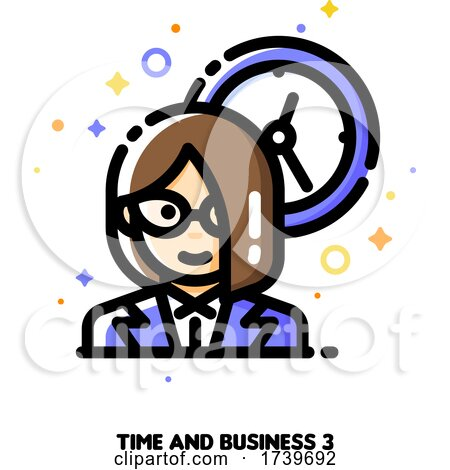 Icon of Businesswoman on a Background of Clock for Work Time Management Concept by elena