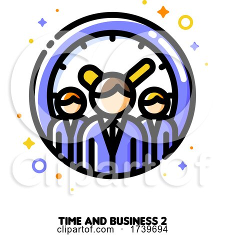 Icon of Three Business Persons on a Background of Clock for Teams Work Time Efficiency Concept by elena