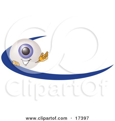 Clipart Picture of an Eyeball Mascot Cartoon Character Waving and Standing Behind a Blue Dash on an Employee Nametag or Business Logo by Toons4Biz