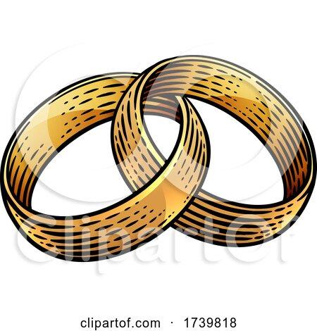 Wedding Ring Bands Vintage Woodcut Illustration by AtStockIllustration
