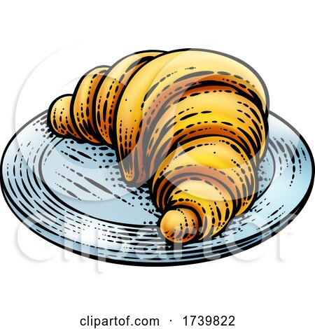 Croissant Pastry Bread Food Drawing Woodcut by AtStockIllustration