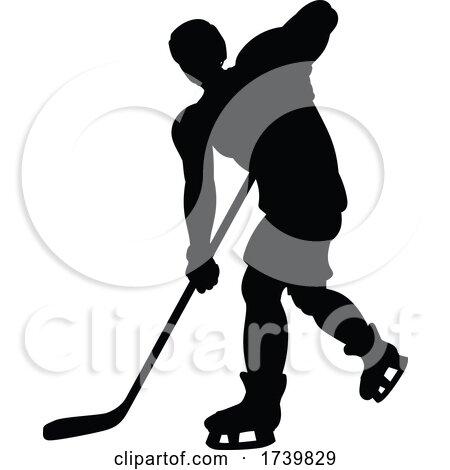 Ice Hockey Player Silhouette by AtStockIllustration