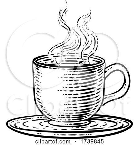 Coffee Tea Cup Hot Drink Mug Woodcut Etching by AtStockIllustration
