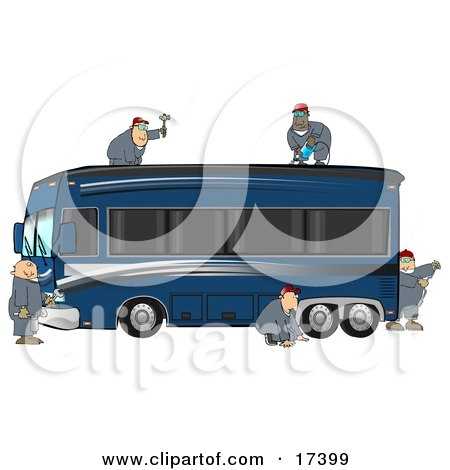 5 Male Mechanics In Coveralls, Working Together To Fix And Repair A Luxurious Blue Bus Conversion Rv Motorhome Clipart Illustration by djart