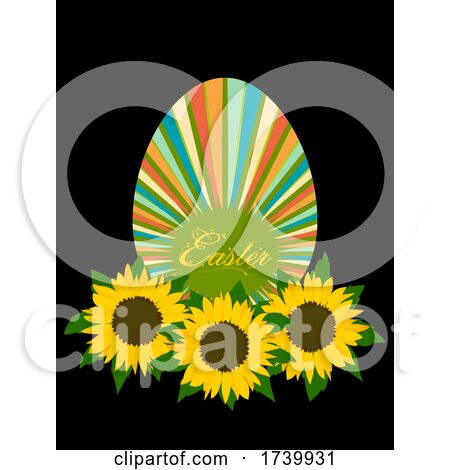 Easter Striped Egg with Sunflowers Bed on Black by elaineitalia