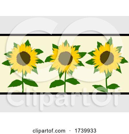 Sunflowers Trio over Light Yellow Panel by elaineitalia